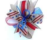 Burlap 4th of July whimsical bow for wreaths, Memorial Day bow, red white blue, burlap, star and stripes mantle bow, lantern bow
