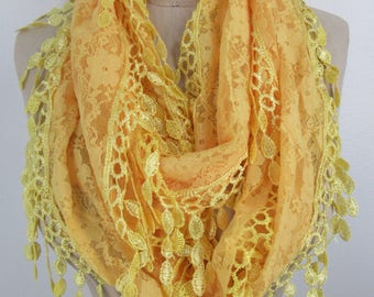 infinity scarf Bright Yellow Sheer Floral Lace Trendy Loop Cowl Soft Lightweight Fringed Spring Summer Dramatic Fashion Accessory Gift idea