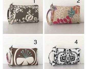 SALE - Square Wristlet Zipper Pouches - Choose Your Fabric