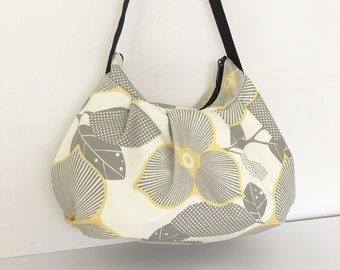 Pleated Bag // Shoulder Purse - Optic Blossom in Linen