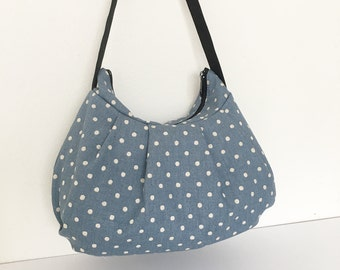 Pleated Bag // Shoulder Purse - Canvas Natural Small Dots in Blue