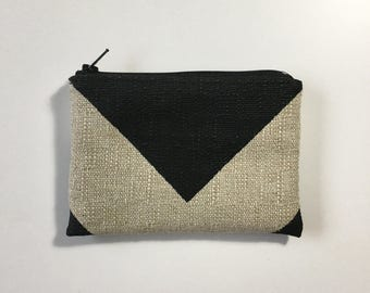 Little Zipper Pouch - Chevron Black / Dention