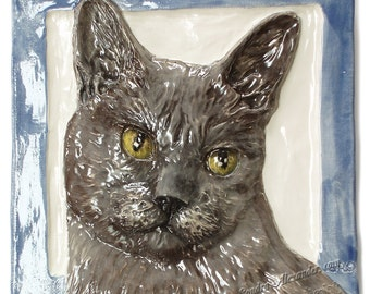 Longhair Cat Tile CERAMIC Portrait Sculpture 3d Art Tile Plaque FUNCTIONAL ART by Sondra Alexander In Stock
