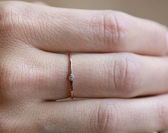 14k Rose Tiny Diamond Ring | 14k Rose Gold and Diamond Ring