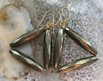 Black Rock Channel Pyrite Earrings