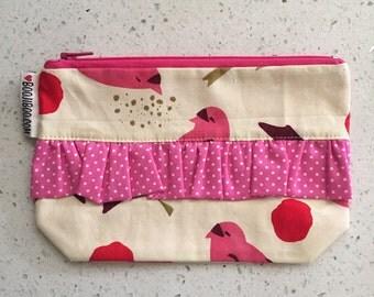 Bird Ruffle Zip Pouch - Pink