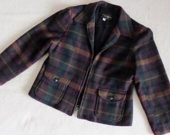 Short stylish wool plaid JACKET Harris/Wallace Petite 8 ~ fully lined