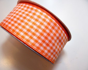 Gingham Ribbon, Orange and White Gingham Check Wired Fabric Ribbon 2 1/2 inches wide x 25 yards, Full Bolt of Offray Riley Ribbon