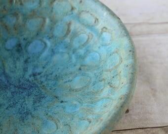 Blue Green Stoneware Bowl / Studio Art Hand Thrown Pottery Boho Style Handmade Vessel / Small Serving Trinket Key Bowl Wedding Present
