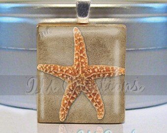60% OFF CLEARANCE Scrabble tile pendant necklace - Summer Sea Star Beach (AM352)
