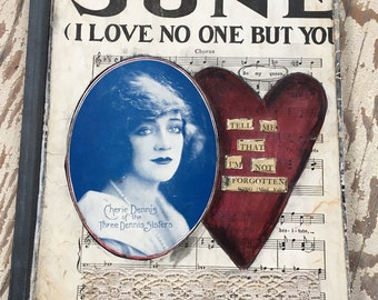 Journal, Altered Art, Altered Book, Notebook, Vintage Style, Handmade, Heart, Love, Antique Sheet Music, Collage, Primitive, Composition