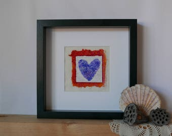 original wall art, art heart embroidery, mixed media hand made paper vintage fabric, wedding gift, Orange and Blue Vintage Heart