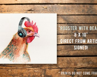 Fine art Print from original watercolor by Redstreake, rooster, headphones, jam 2 sizes