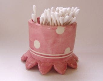 whimsical pottery Pink Bathroom Cup, ceramic cotton swab holder, or makeup brushes, hair accessories  :) pretty pink polka-dots home decor