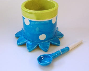Whimsical Sugar Bowl bright colorful pottery serving bowl w/ handmade ceramic spoon bright Blue & Chartreuse w/ polka-dots