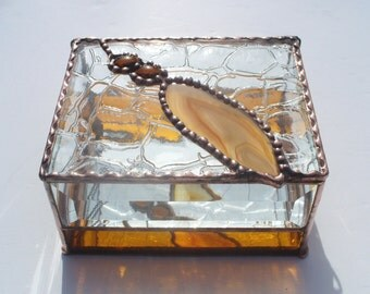 Amber Agate, Stained Glass Box, Inlaid Stone, OOAK gift, Gift For Man or Woman