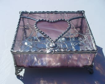 Ready to Ship, Roses and Hearts, Stained Glass Jewelry Box, Glass Jewelry Box, Your choice of Handle and Color