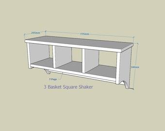 Square Basket Shaker Oak rack.