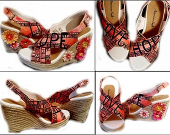 Clearance, Wedges, Sandals, Womens Shoes, Custom Painted, Love, Hope, Inspirational, Orange Sandals, One of a Kind,  Size 8, Shoes Included
