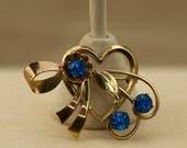 Vintage Brooch/Pendant - Harry Iskin Signed Heart Shaped Blue Rhinestone Brooch/Pendant  1/20 12 KT Gold Filled.