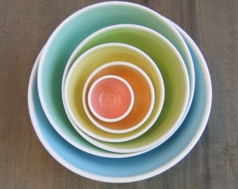 Large Rainbow Nesting Bowls - Ceramic Pottery Stoneware Serving Set - Wedding Gift, Stacking Bowls