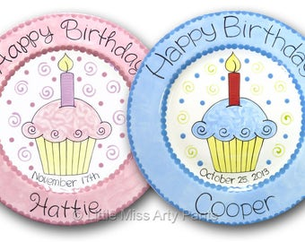 11 inch Personalized Birthday Plate - Birthday Cupcake Design -