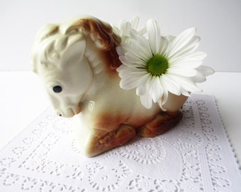 Vintage Ceramic Horse Planter - So Cute
