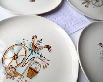 Vintage Dinner Plates Taylor Smith Taylor Weather Vane Aqua Tan Set of Four - Retro 50s