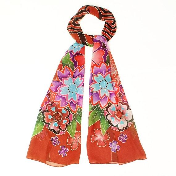 Handpainted silk scarf, Chiffons silk, Flower scarf, Labyrinth, Mandala scarf, Burgundy scarf, hand made scarf, Batik, Unique handmade scarf