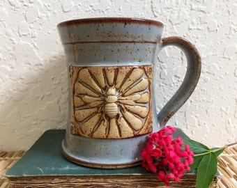 Ceramic Bee Coffee Cup - Large Ceramic Bee Mug - Honey Bee with Flowers - Wheel Thrown Stoneware
