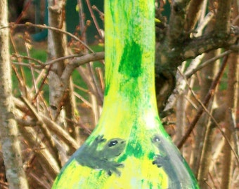 Lizards and Turtle:  Handpainted Gourd Birdhouse