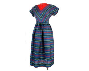 Vintage 50s Dress - 50s Day Dress - 50s Striped Dress - Blue Green Red Dress - 50s Cotton Dress - Striped Cotton Dress - New Old Stock - S M