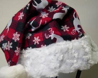 Red Buffalo Plaid Flannel Santa Hat, Red and Black Plaid Santa Hat, Woodland, Reindeer & Snowflakes, Christmas Santa Hat, Country Santa Hat