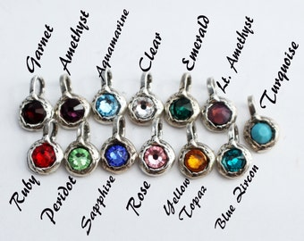 Birthstone Charms Rustic Sterling Silver