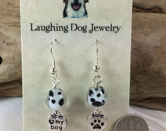 Black and White Glass Earrings for Dog Lovers