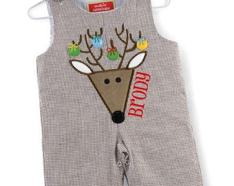 Personalized Christmas Outfit Reindeer Longalls Baby Boy 0-6 months