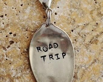 Road Trip Stamped Vintage Spoon Key Ring, Recycled Silverware Keychain, Spoon Bag Charm, Purse Charm by Hendywood