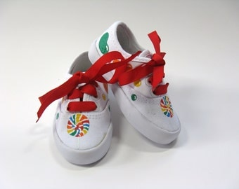 Lollipop and Candy Shoes, Reduced Price, Candy Birthday Party Theme, Hand Painted for Baby or Toddler