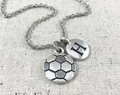 Personalized Soccer Ball Charm Necklace, Silver Soccer Jewelry, Personalized Soccer Gift, Soccer Ball Charm, Soccer Team Gift