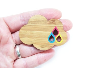 Rainbow Cloud Brooch, Laser Cut Wooden Brooch, Rainbow Gifts, Rainbow Pin Jewellery, CMYK Gift, Gift for Graphic Designer or Illustrator