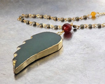 Angel wings boho necklace, green aventurine gold plated gemstone pendant, vermeil gold chain, carnelian, olive green hematite, yellow jade