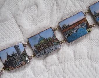 enamel bracelet . Rome souvenir bracelet . enamel photo bracelet