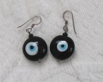 evil eye earrings . glass evil eye earrings . blue glass earrings