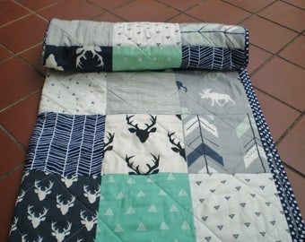 Baby Quilt, baby deer quilt, Baby Boy Bedding, Baby Girl Quilt, Woodland, rustic,mint,grey,navy, Moose, Arrow, Chevrons, Mini me antlers