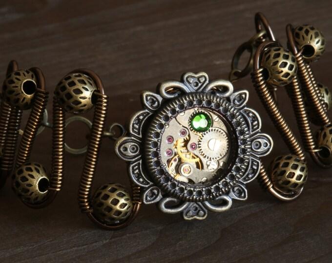 NEW Steampunk bracelet with fern green swarovski crystal,antique watch movement