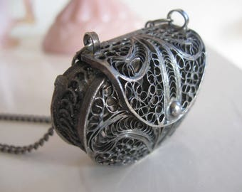 "Tiny Antique Doll Purse Silver Etruscan Filigree 1 1/4"" for French Bique Doll Necklace"