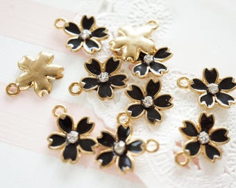 5 pcs Sakura Cherry Blossom Gold Charm (14mm) Black AZ079