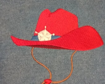 Embroidered Cowboy Hat Quilt Square