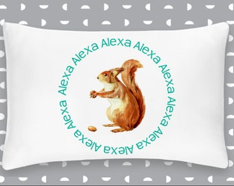 Personalized Squirrel Pillowcase Home Decor Bedding Bed Woodland Nursery