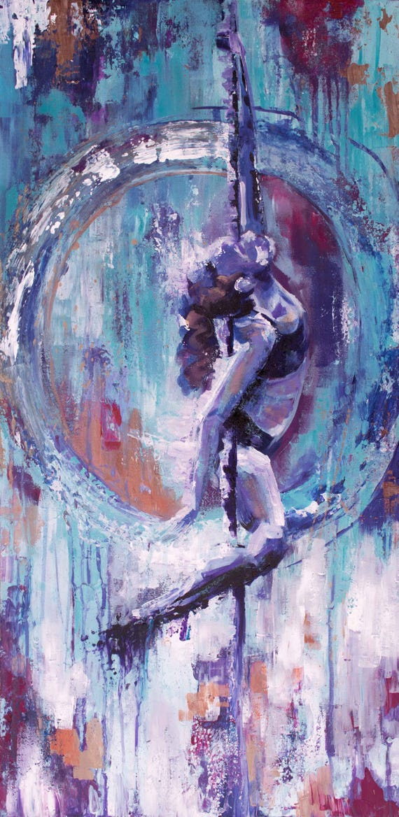 """Icarus   15"""" x 30"""" Original Acrylic Painting on Canvas"""